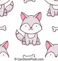 Simple seamless pattern, cute kawaii hand drawn wolf doodles