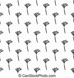 Simple seamless pattern with Realistic Botanical ink sketch ginseng flowers solated on white, floral herbs collection. Traditional chinese medicine plant.