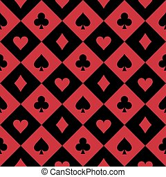 Simple seamless poker background with card symbols