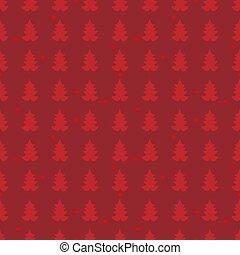 Simple seamless retro red Christmas pattern with Xmas trees