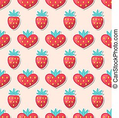 Simple Seamless Wallpaper with Hearts and Strawberry