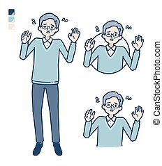Senior Man with panic images.