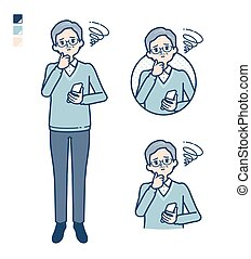 Senior Man with Holding a smartphone and troubled images. It's vector art so it's easy to edit.