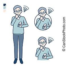 simple senior man_smartphone-sigh - Senior Man with Holding ...