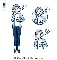 Senior woman in a suit with Holding a smartphone and troubled images. It's vector art so it's easy to edit.