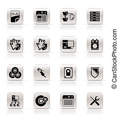 Simple Server Side Computer icons - Vector Icon Set
