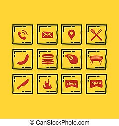 Simple Set icon of Barbecue
