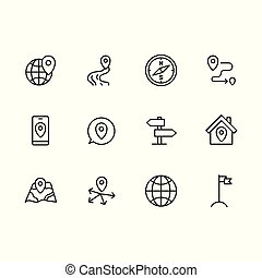 Simple set map pointer, navigation, globe, travel, location vector line icon. Contains such icons arrows, map with pin, route, mobile app, navigator, compass, direction, destination and more.
