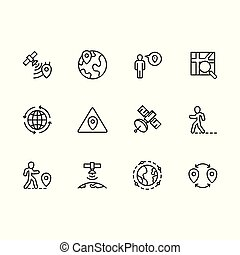 Simple set map pointer, navigation, globe, travel, location vector line icon. Contains such icons map with pin, route, mobile app, gps navigator, destination and more.