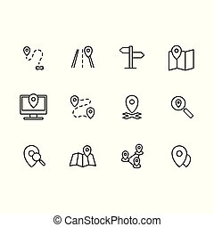 Simple set map pointer, navigation, location vector line icon. Contains such icons arrows, map with pin, route , navigator, direction, destination and more.