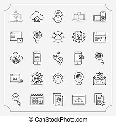Simple Set of Application Related Vector Line Icons.