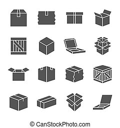 Simple set of box and crates related vector icons for your design. EPS 10