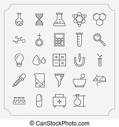 Simple Set of Chemical Related Vector Line Icons.