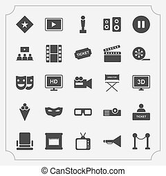 Simple Set of Cinema Related Vector Icons.