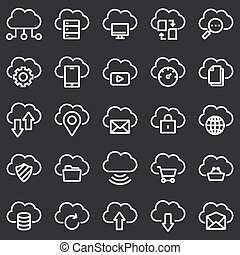 Simple Set of Computer Cloud Related Vector Line Icons