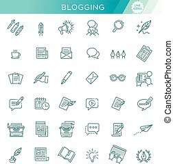 Simple Set of Copywriting Related Vector Line Icons