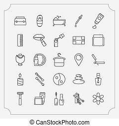 Simple Set of Cosmetics Related Vector Line Icons