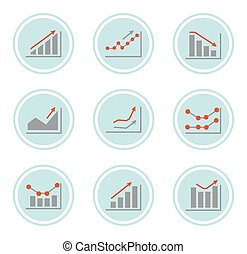 Simple set of diagram, chart and graphs related vector icons...