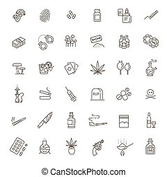 Simple Set of Drugs Related Vector Line Icons.