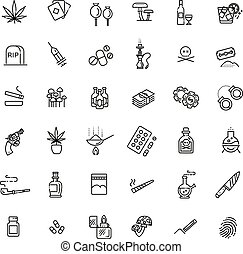 Simple Set of Drugs Related Vector Line Icons