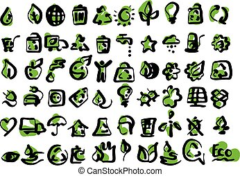Simple set of  ecology icons vector illustration sketch hand drawn with black lines isolated on white background