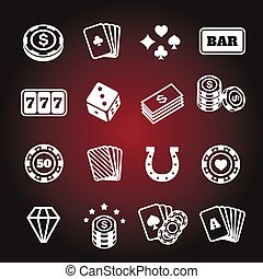 Simple set of gambling related vector icons