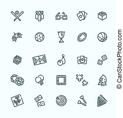 Simple set of games related vector line icons