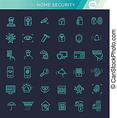 Simple Set of Home Security Related Vector Line Icons