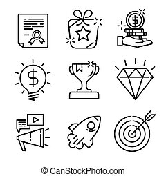 Simple Set of Marketing Related Vector Line Icons