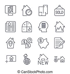 Simple Set of Real Estate Related Vector Line Icons.