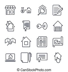 Simple Set of Real Estate Related Vector Line Icons. Editable Stroke.
