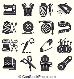 Simple Set of Sewing Related Vector Icons.