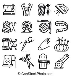 Simple set of sewing related vector line icons.