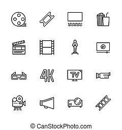 Simple set symbols cinema, filming cinema and film theater. Contains such icon movie, popcorn, cinema film, screen, award, glasses, 3d, 4k, television, camera, video.