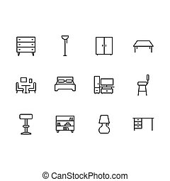 Simple set symbols furniture and interior room line icon. Contains such icon chest of drawers, wardrobe, chair, table for home office and living room, lamp, bed and bedroom design.