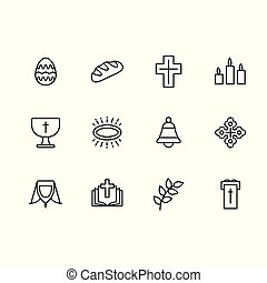 Simple set symbols religion and church line icon. Contains such icon Easter egg, bread, cross, candles bell, prayer book and bible, church, temple, worship, orthodoxy, catholicism.
