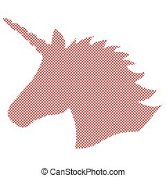 Simple Shape,  silhouette  of the magical unicorn in Nordic style cross stitch and inspired by Scandinavian Christmas patterns in red and white
