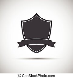 Simple shield icon, flat style, vector illustration