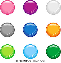 A set of nine simple shiny buttons.