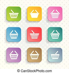 Simple shopping basket icons rounded square design