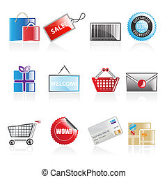 Simple shopping icons - Set of 12 simple shopping web icons...