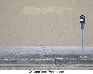 Street scene in city with parking meter