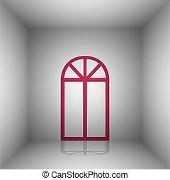 simple, signe., room., fenêtre, bordo, ombre, icône
