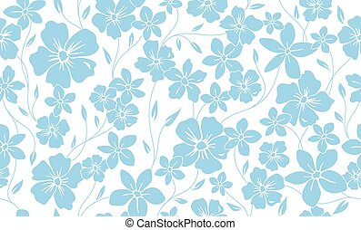 Simple silhouette classic floral seamless pattern. Flowers ornament vector background