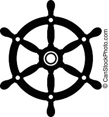 Simple silhouette of a ships wheel
