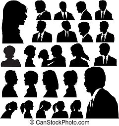 Simple Silhouette People Portraits - A set of men & women...