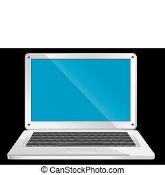 Simple silver laptop with blue screen on black background, vector illustration