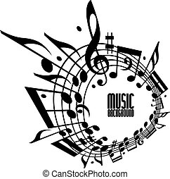 Simple single color music background with notes and clef. -...