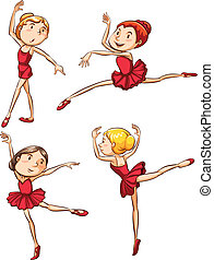 Simple sketch of the ballet dancers wearing red