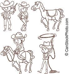 Simple sketches of a cowboy
